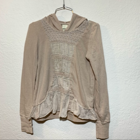 3/$25 Anthro Eloise Lacy Peplum Hoodie Sweater